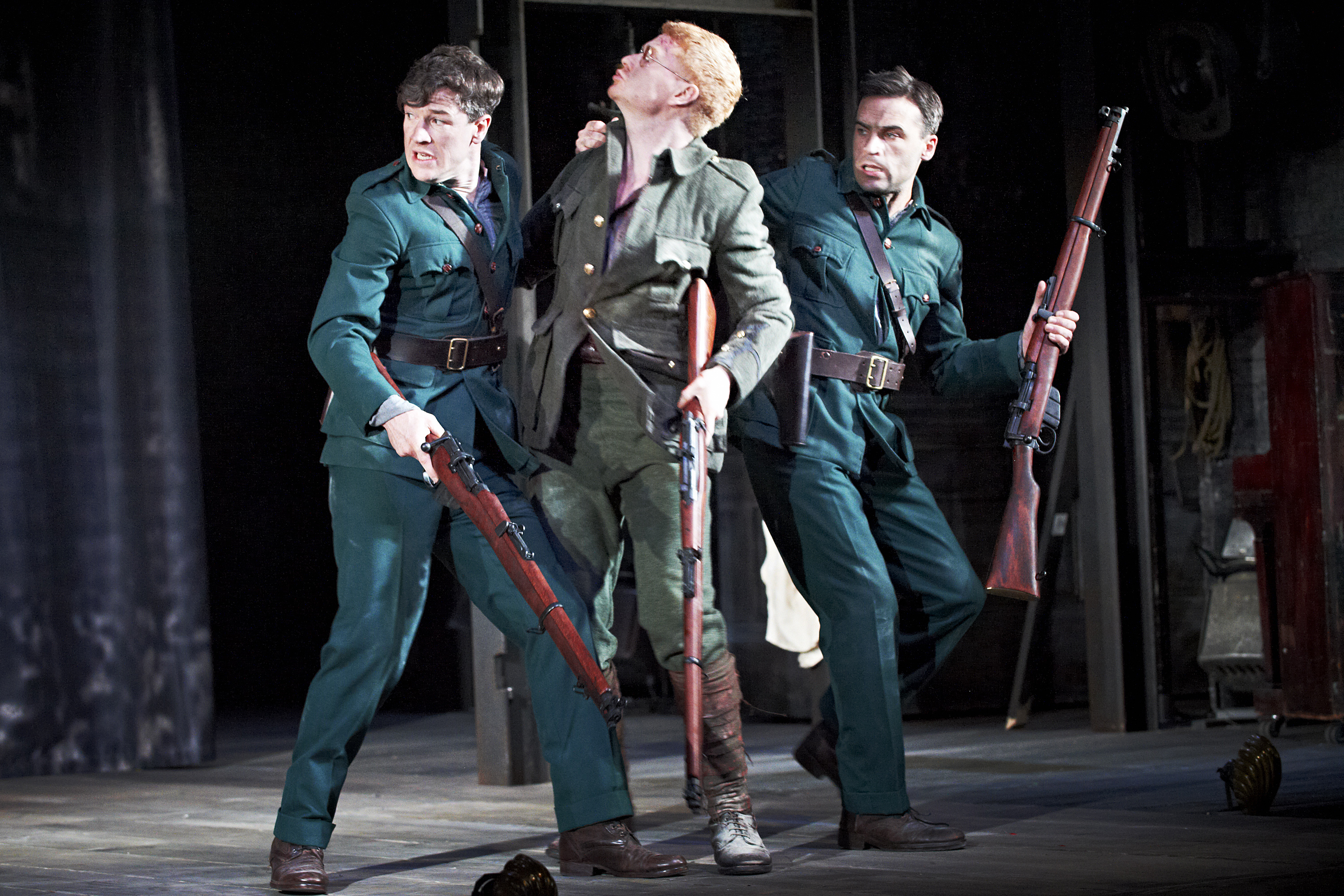 The Plough and the Stars 2012 Abbey Theatre, Barry Ward, Mark Fitzgerald and Dara Devaney, Photo Credit Ros Kavanagh