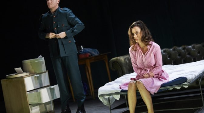 Ian-Lloyd Anderson (Jack Clitheroe) and Kate Stanley Brennan (Nora Clitheroe) in The Plough and the Stars by Sean O'Casey, directed by Sean Holmes.
