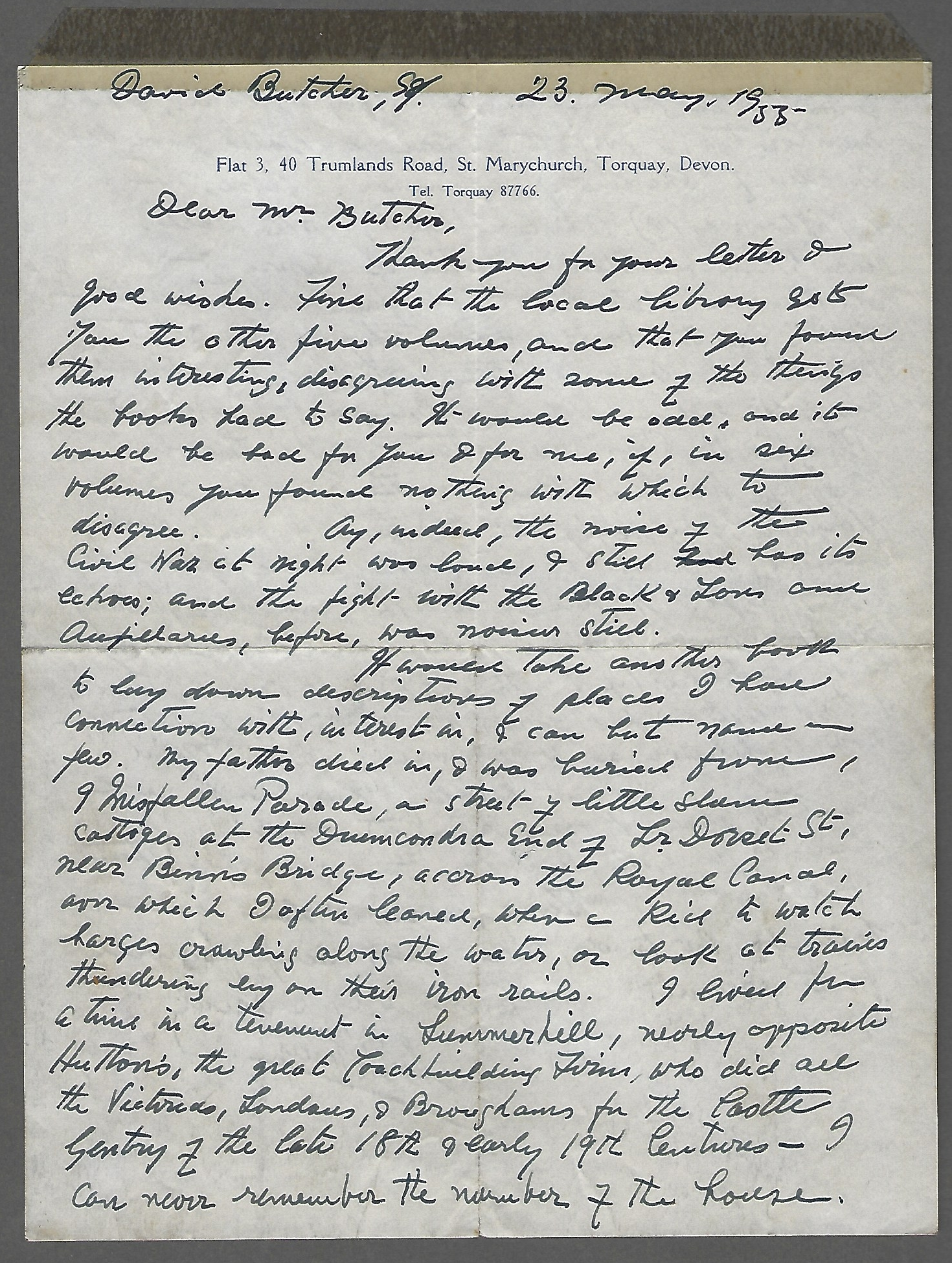Letter from Sean O'Casey to David Butcher p. 1